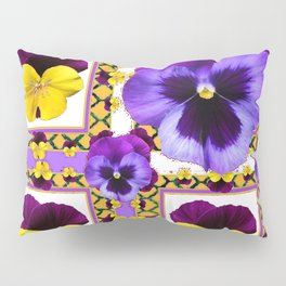 ASYMMETRICAL SPRING PURPLE & YELLOW PANSIES  ART Pillow Sham
