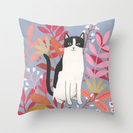Flower Garden Cat Throw Pillow