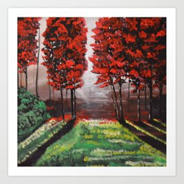 Red Tree Forest <3 Art Print