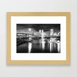 Lighting Up The Tulsa Skyline - Black and White Framed Art Print