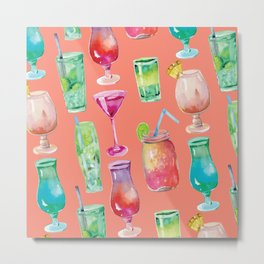 Watercolor Cocktails on Coral Metal Print