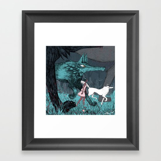 Woman Wolf wandering Framed Art Print
