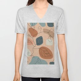 Abstract Shapes & Flowers Unisex V-Neck