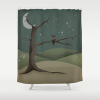 starry night Shower Curtains featuring Starry Night by redrockit