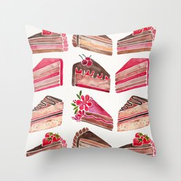 Cake Slices – Pink & Brown Palette Throw Pillow