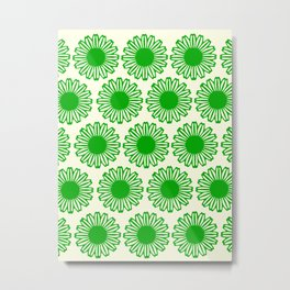 vintage flowers green Metal Print