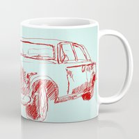 car Mugs featuring Car  by Kristoffer West Johnson