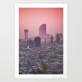 Barcelona Summer Sunset Colors Art Print