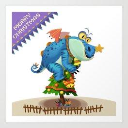 The Sloth Dragon Monster Comes to wish You Merry Christmas Art Print