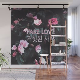 Fake Love Pink Floral Wall Mural