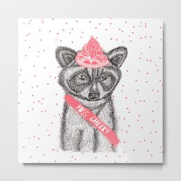Funny girly raccoon illustration pink tiara Metal Print