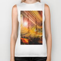 ships Biker Tanks featuring Sailing ships sunset by Walter Zettl