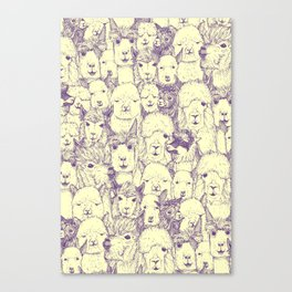 just alpacas purple cream Canvas Print