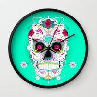calavera Wall Clocks featuring Calavera by yoaz