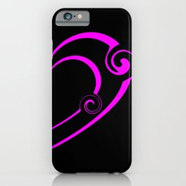 Double black heart made of pink spirals and monograms in vintage style. iPhone Case