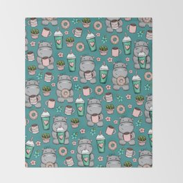 Cute Little Hippo, Lattes and Donuts, Pink and Blue Illustration, Happy Hippopotamus, For Girls Throw Blanket