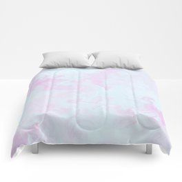 Abstract teal magenta pink watercolor marble pattern Comforters