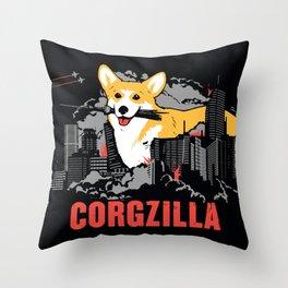 CORGZILLA Throw Pillow