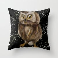 hedwig Throw Pillows featuring My Hedwig by Mathis Designs