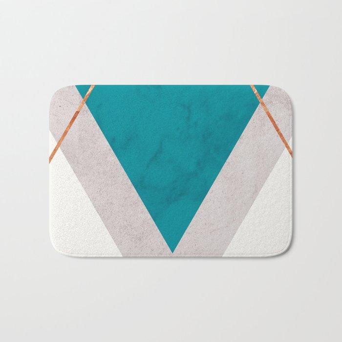 Teal Copper And Blush Geometric Bath Mat By Marilenaxiari