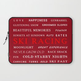 Ski Racing Burgundy Laptop Sleeve
