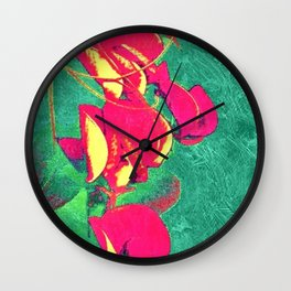 Fuchsia Emerald Roses Wall Clock