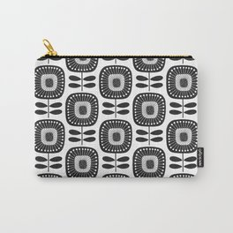 Mid Century Modern Flower Pattern - Black & White Carry-All Pouch