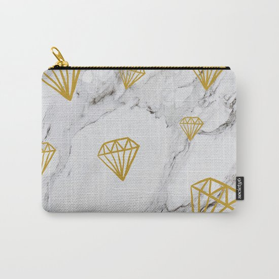 Gold diamonds on marble Carry-All Pouch