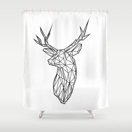 Black Line Faceted Stag Trophy Head Shower Curtain