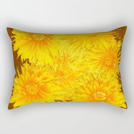ABSTRACTED COFFEE BROWN   FIRST SPRING YELLOW DANDELIONS Rectangular Pillow