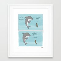 treat yo self Framed Art Prints featuring TREAT YO SELF  by Liz Climo