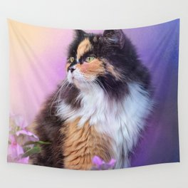 Calico Kitty In The Garden Wall Tapestry