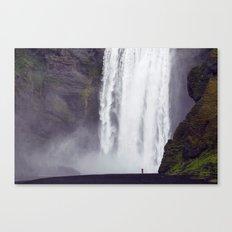 Man Vs. Nature - Skógafoss, Iceland Canvas Print