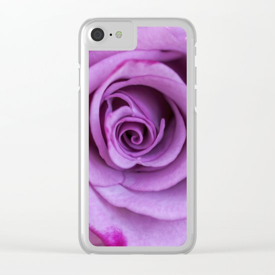 Heart of a rose I - Pink and purple rose Clear iPhone Case