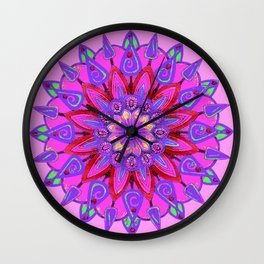 MANDALA OF PURPLE  & PINK ART DESIGN ART Wall Clock