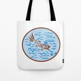 Medieval Fish Swimming Oval Retro Tote Bag