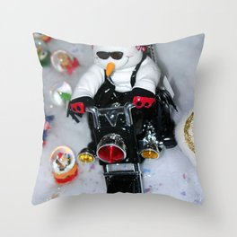 Motorcycle Snowman Throw Pillow