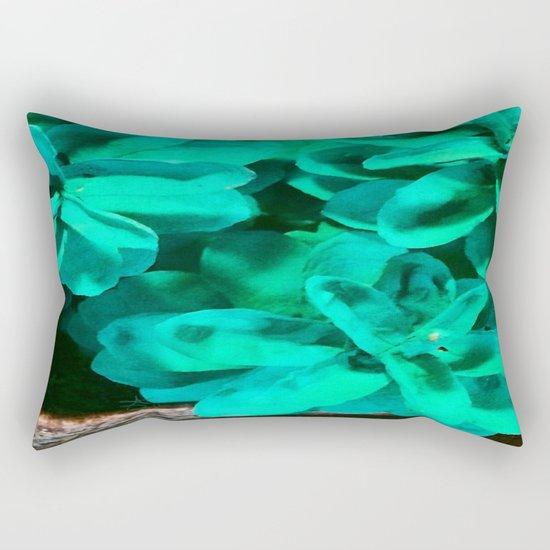 Green Pinecone Roses Rectangular Pillow