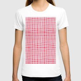 sun kissed coral random cross hatch lines checker pattern T-shirt