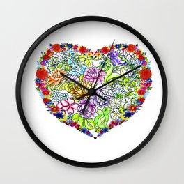 flowers in the heart Wall Clock