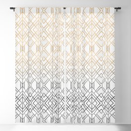 Gold And Grey Geo Blackout Curtain