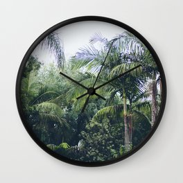 Palm Trees in a Tropical Garden Wall Clock