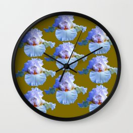 BLUE-WHITE PASTELS IRIS GARDEN REPLICATES  IN AVOCADO Wall Clock