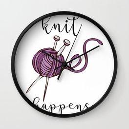 Knit Happens Funny Knitting Crochet Shirts Wall Clock