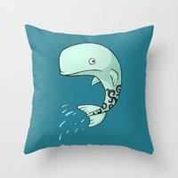 the whale Throw Pillows featuring Whale by Freeminds