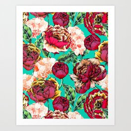 Colorful Peony Pattern Art Print