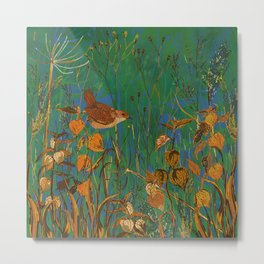 Winter Glimpses - Wren and Physalis Metal Print