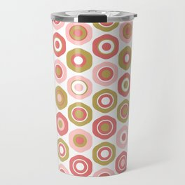 Buttons. Cute Geometric Pattern in Dark Mustard Yellow, Coral Pink and White Travel Mug