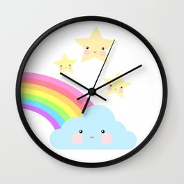 Rainbow, cloud and stars Wall Clock