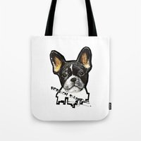 french bulldog Tote Bags featuring French Bulldog by Det Tidkun